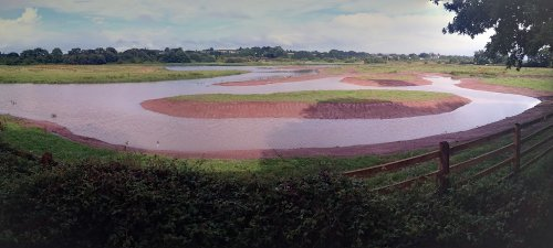 Bowling Green Marsh panorama showing recent earthworks